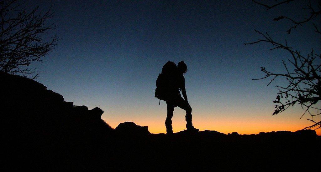 hike the Appalachian trail: Hiker at sunset