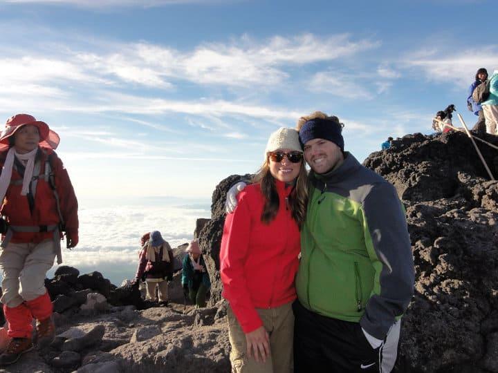 Best Treks In The World Heather & Trav on the Summit of Mt. Fuji