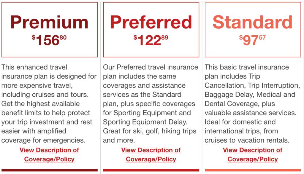 travel insurance price comparison