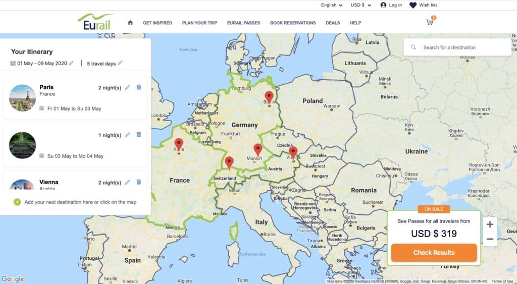 Eurail Pass trip planner tool